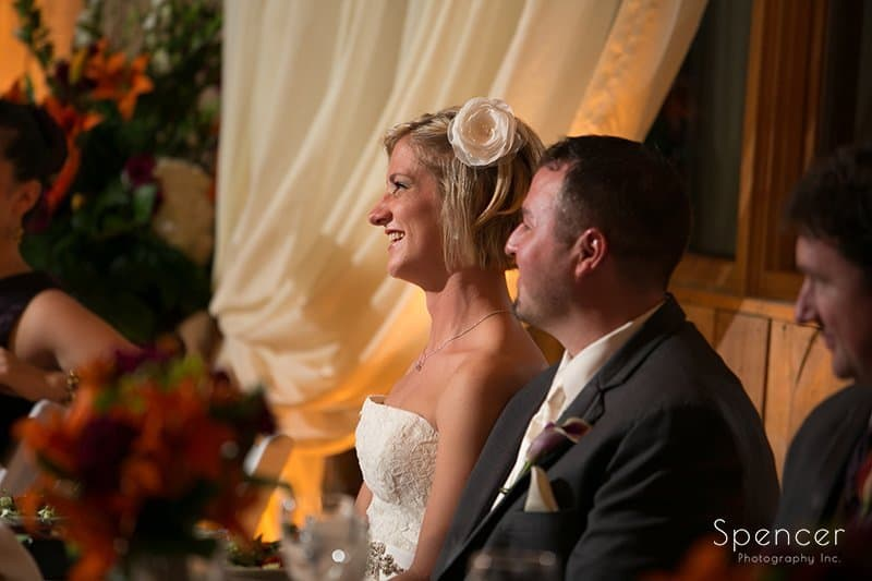 bride reacting to wedding reception speech at Brookside Farm