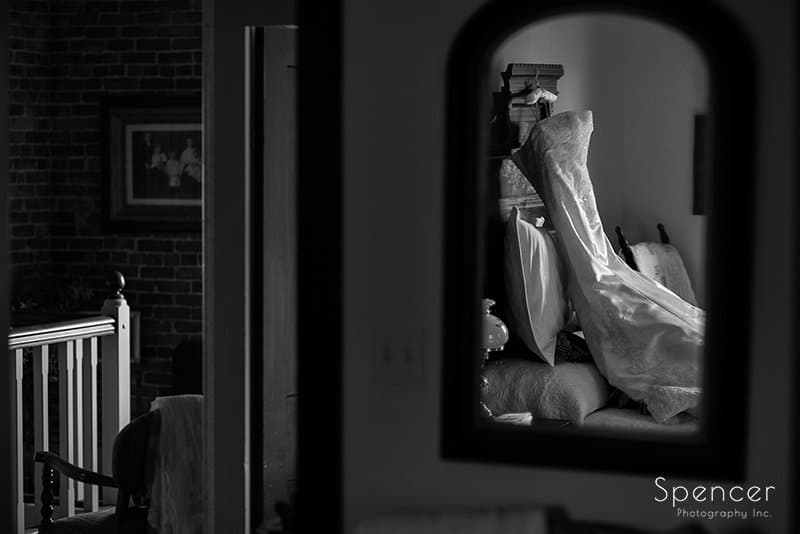 black and white picture of wedding dress at Brookside Farm
