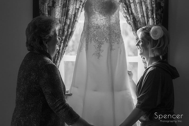 mom and bride with wedding dress at Brookside Farm
