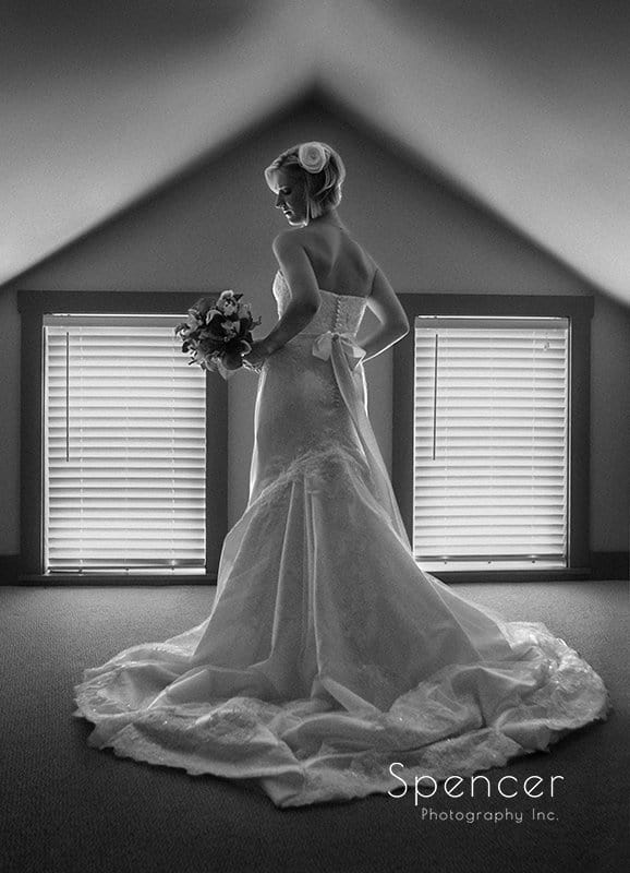 gorgeous wedding picture of bride at Brookside Farm