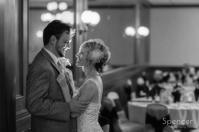 Creative black and white wedding picture at Caro's Party Center