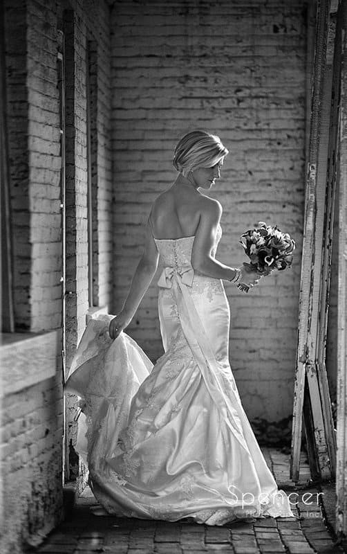 wedding picture of bride at farmhouse at Brookside Farm