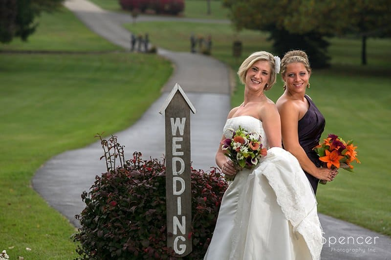 bride and maid of honor at Brookside Farm