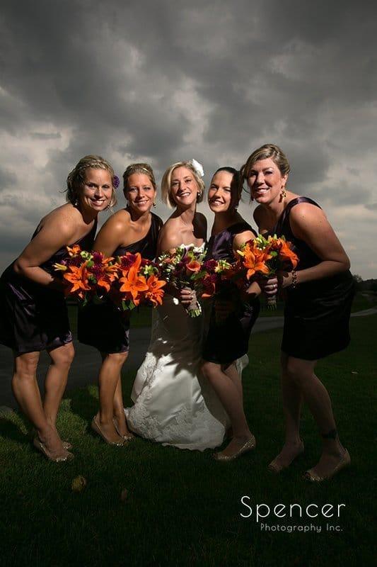 bridesmaids on wedding day at Brookside Farm