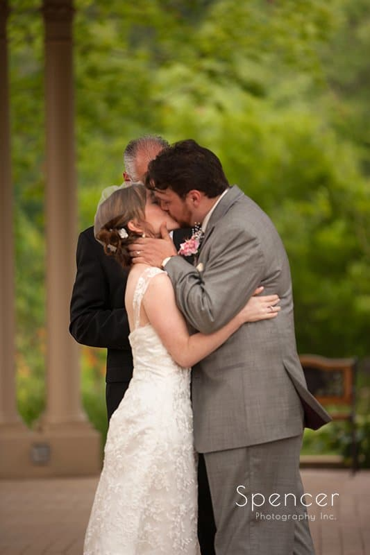 first kiss at wedding ceremony at Caro's Party Center