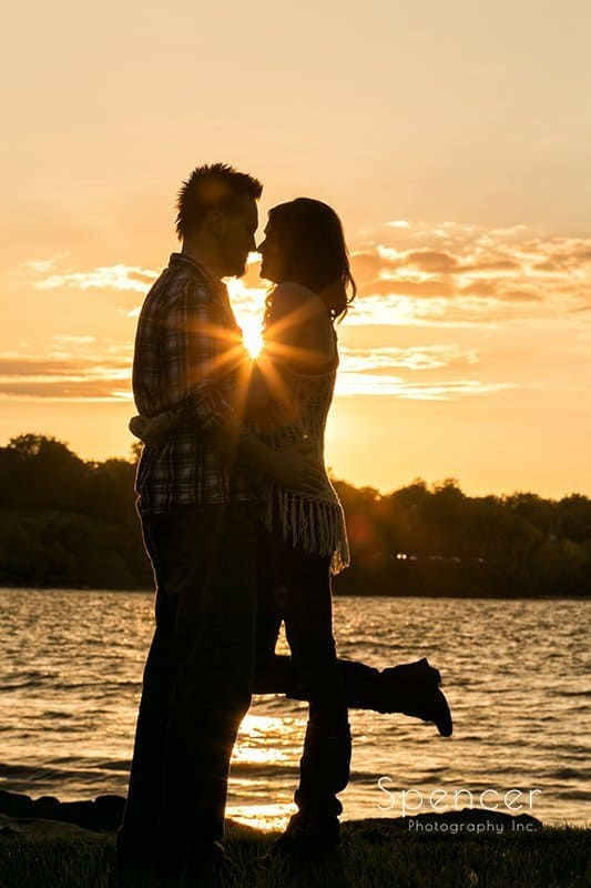 sunset fall engagement pictures at Edgewater Park Cleveland