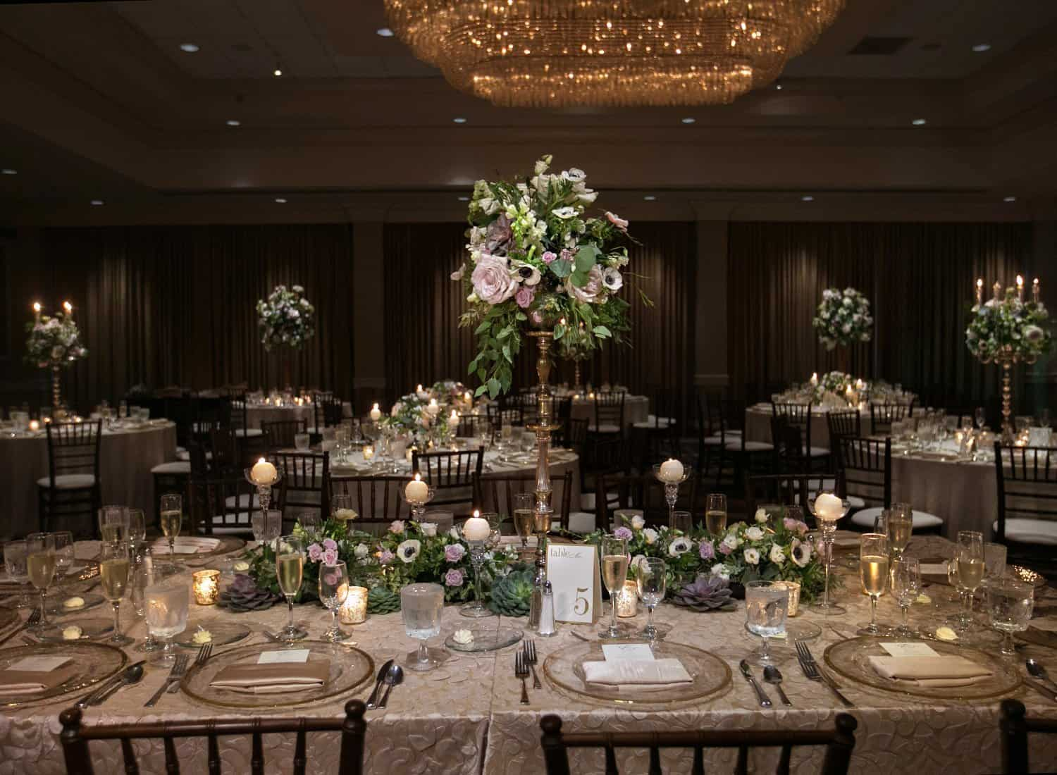 wedding reception centerpiece at Akron Hilton // Cleveland wedding photographers