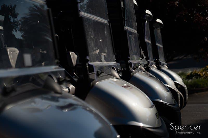 a row of golf carts on firestone wedding day