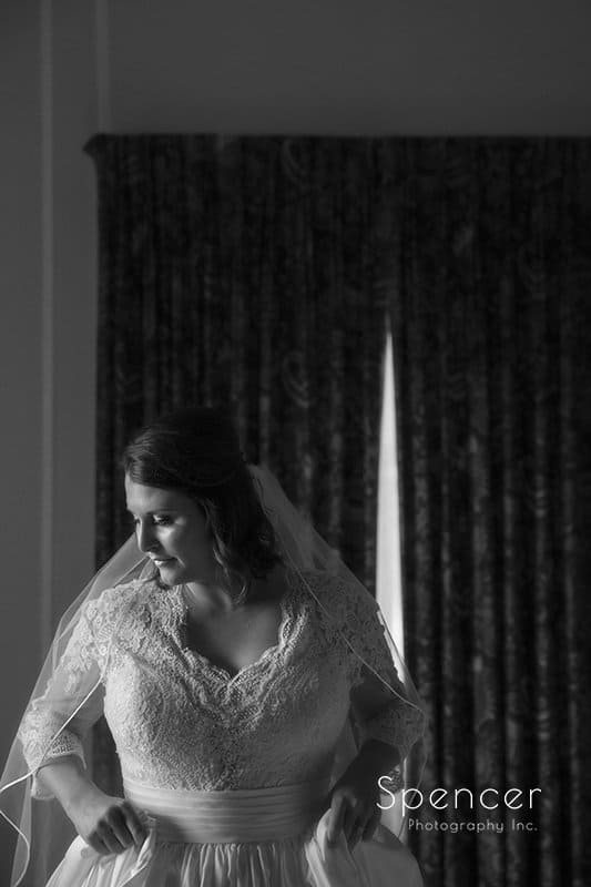 black and white wedding picture of bride at Cathedral of St John the Evangelist