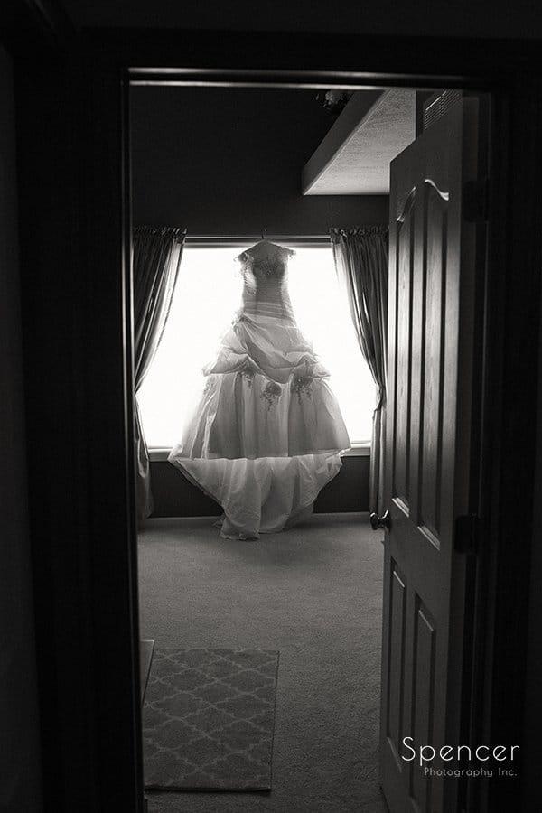 wedding dress hanging up before Muslim wedding