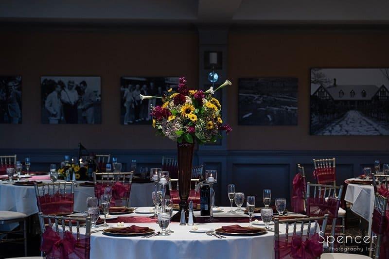 wedding reception centerpiece at Firestone Country Club
