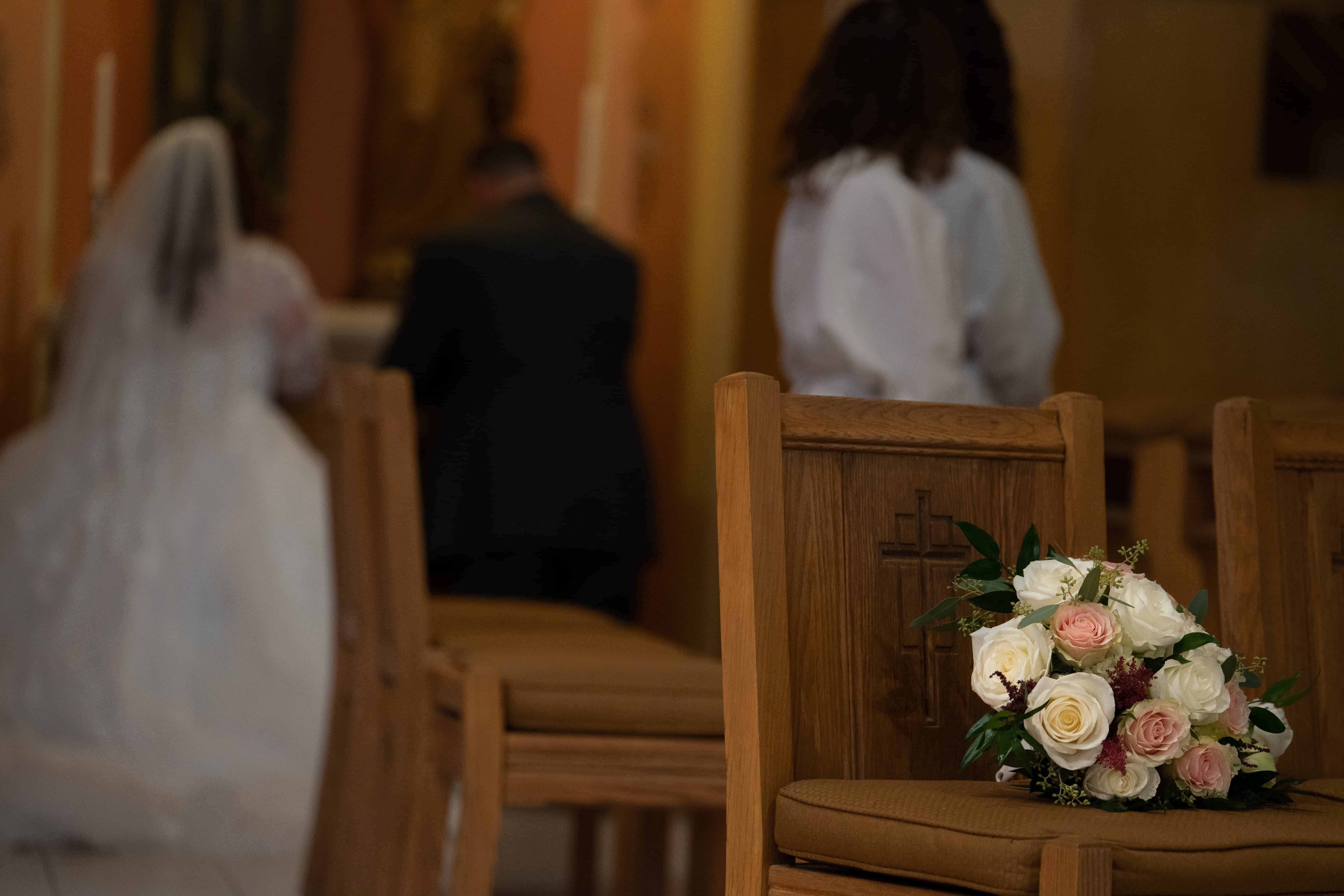 bride bouquet at wedding at Church of Saint Clare