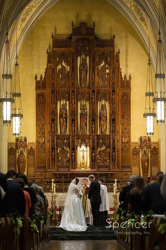 gorgeous wedding picture of bride and groom at Cathedral of St John the Evangelist