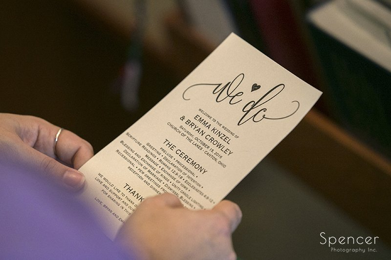 wedding ceremony program at Church on the Lakes