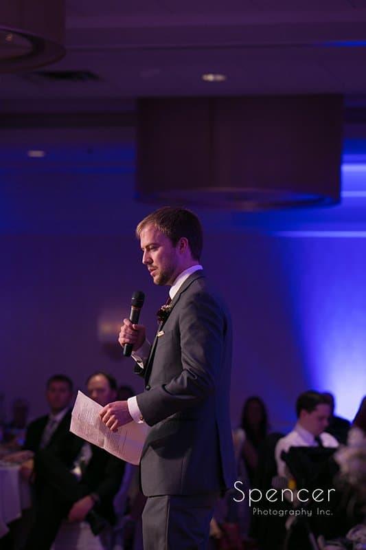 best man speech at wedding reception at Embassy Suites