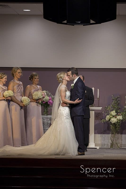 first kiss at wedding ceremony at Canton Baptist Temple