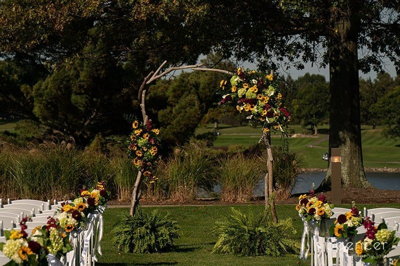 arch at wedding ceremony at Firestone Country Club