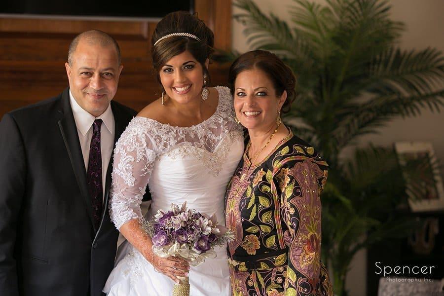 muslim bride with her parents