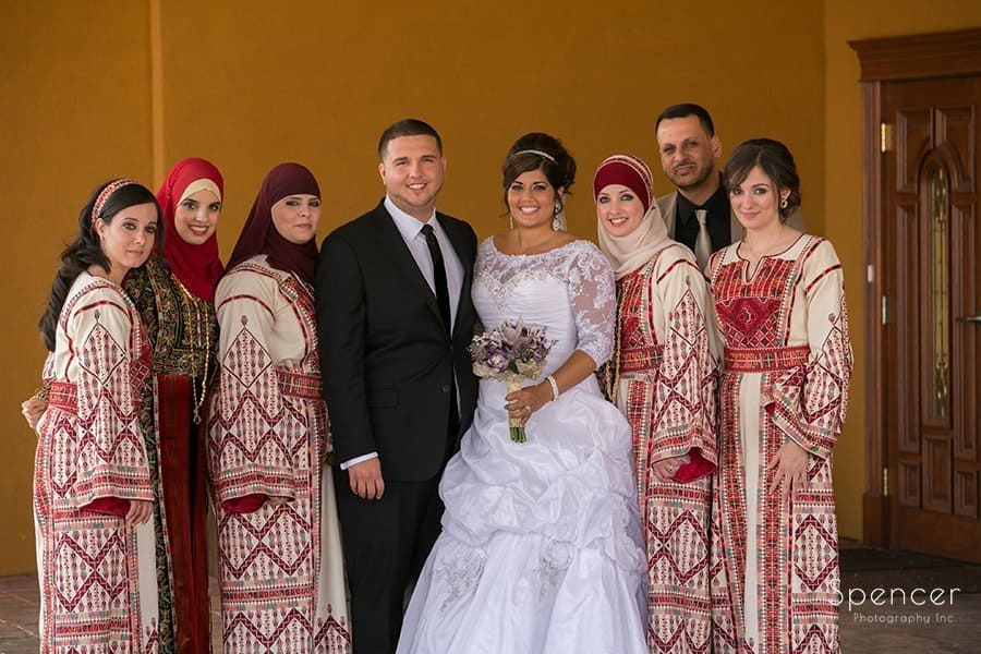 bride and groom with wedding party at Muslim wedding