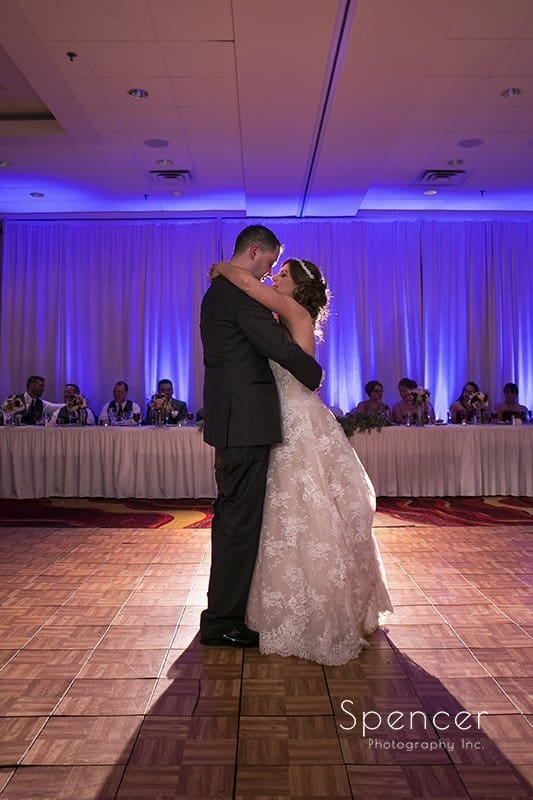 first dance at wedding reception at Embassy Suites Beachwood