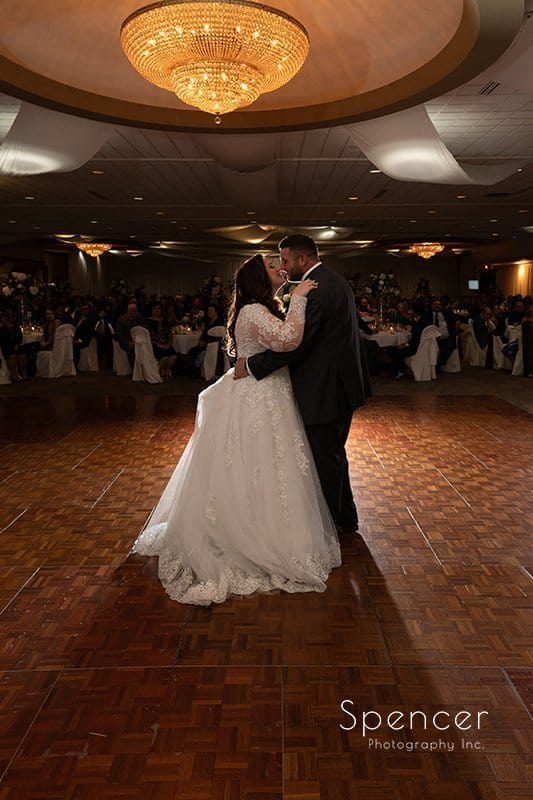 full length picture of first dance at wedding reception at LaMalfa