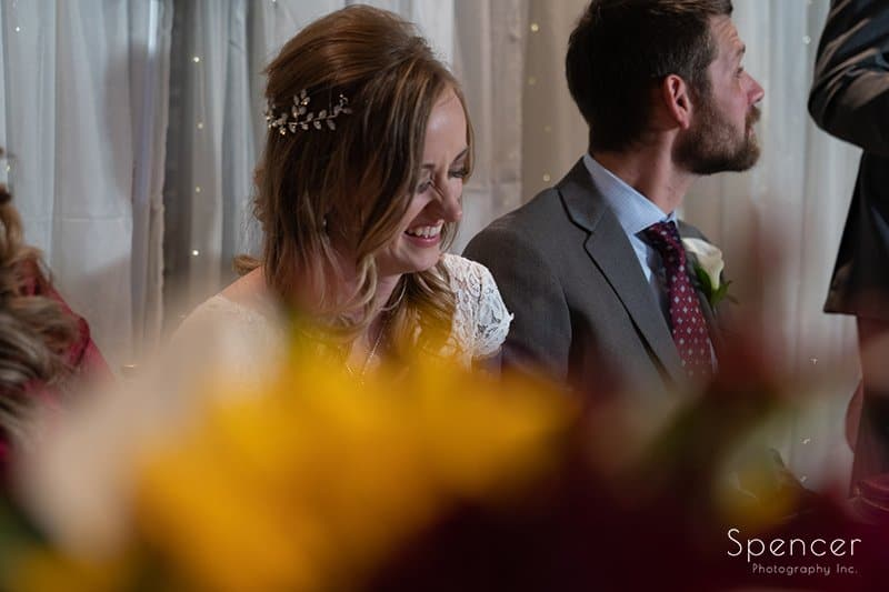 bride reacting to best man speech