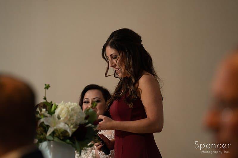 maid of honor giving speech at wedding reception at LaMalfa