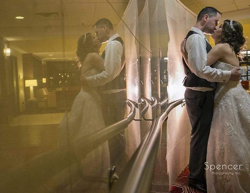 beautiful wedding picture of bride and groom at Embassy Suites