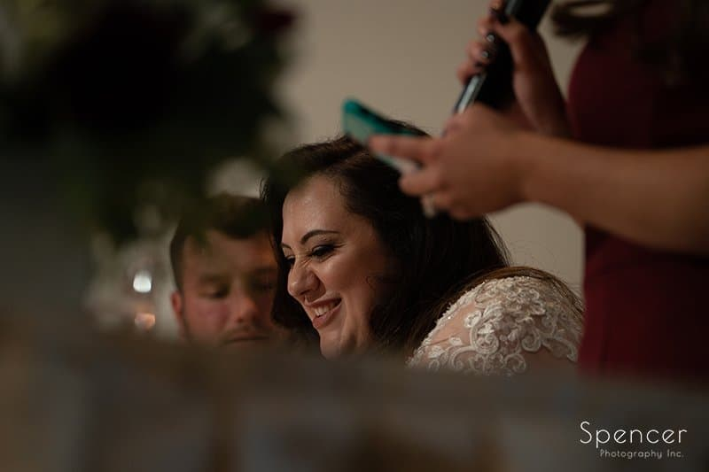 bride reacting to maid of honor speech at LaMalfa