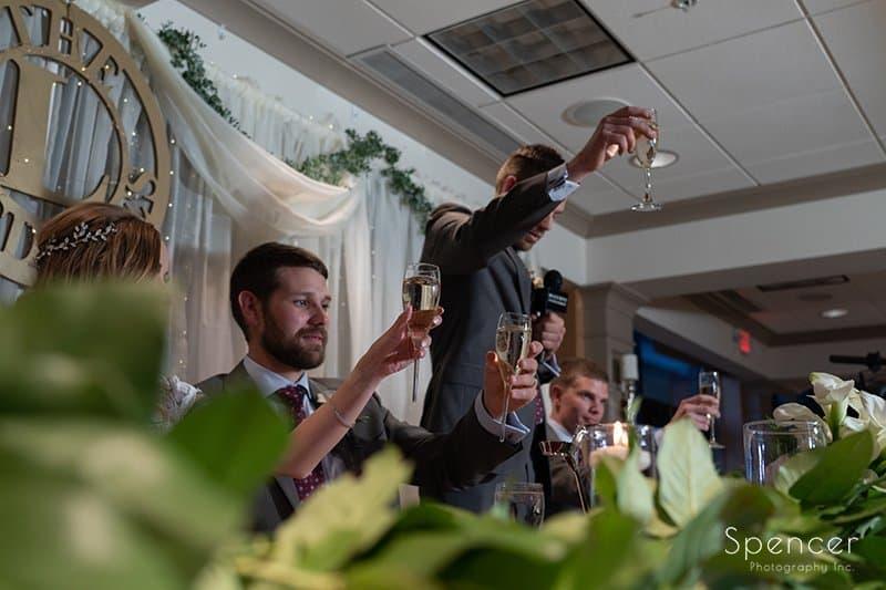 wedding reception toast at reception at Firestone