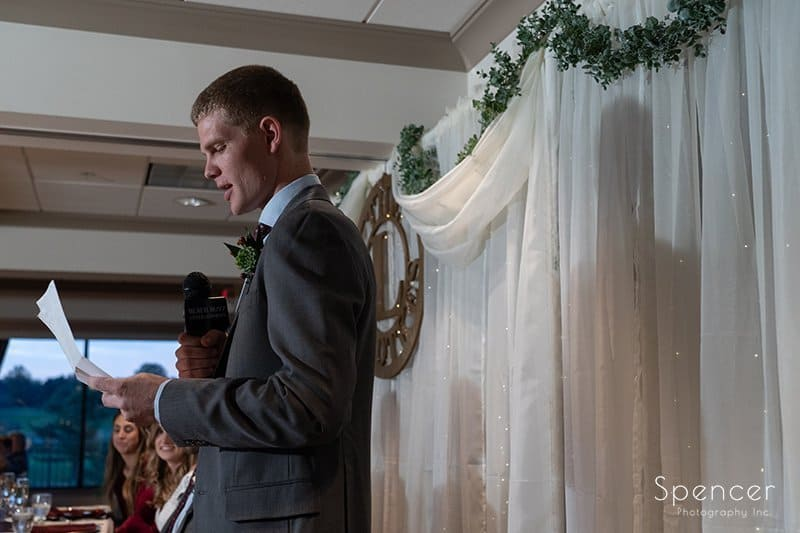 brother of groom giving reception speech