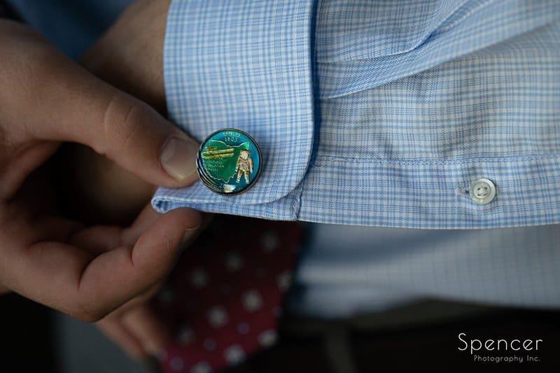 custom cuff link of groom at Firestone