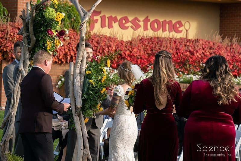 view of wedding ceremony at Firestone