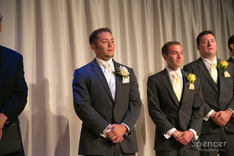 groom watching bride enter wedding at Cuyahoga Valley Church