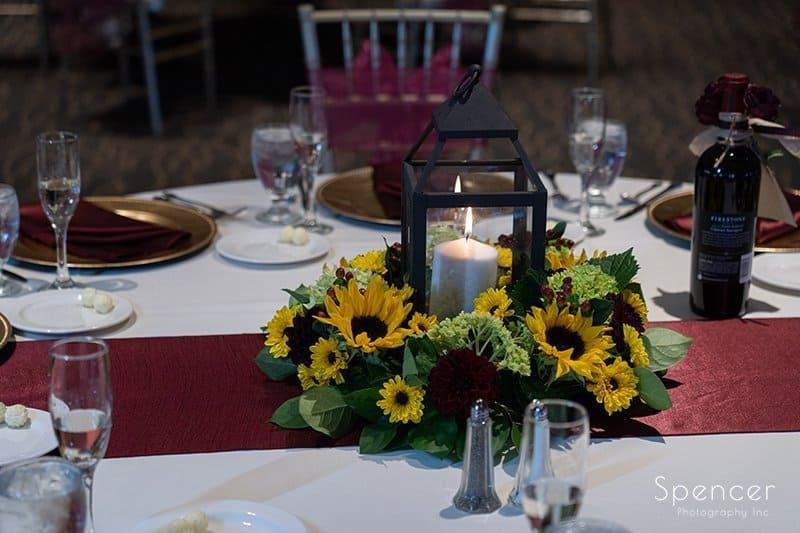 small centerpiece at Firestone Country Club wedding reception
