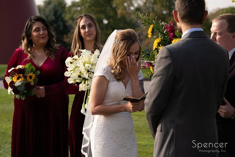 bride crying during wedding ceremony at Firestone
