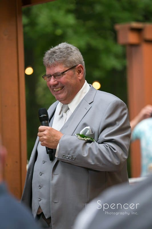 dad giving reception speech at Country Cottage and Gardens
