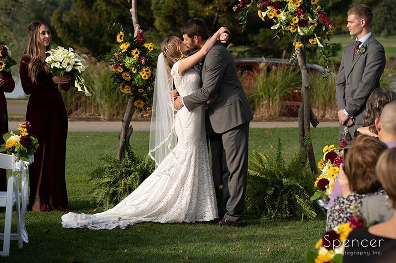first kiss at Firestone wedding ceremony