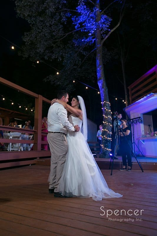 first dance at wedding reception at Country Cottage and Gardens