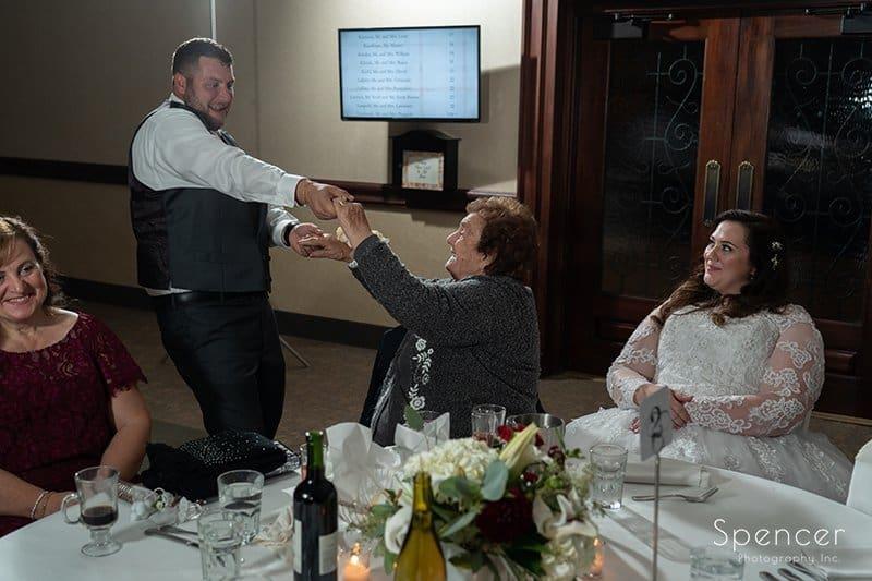 groom dancing with brides grandma at LaMalfa