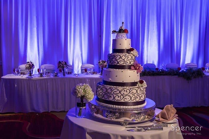 wedding cake at reception at Embassy Suites Beachwood Ohio