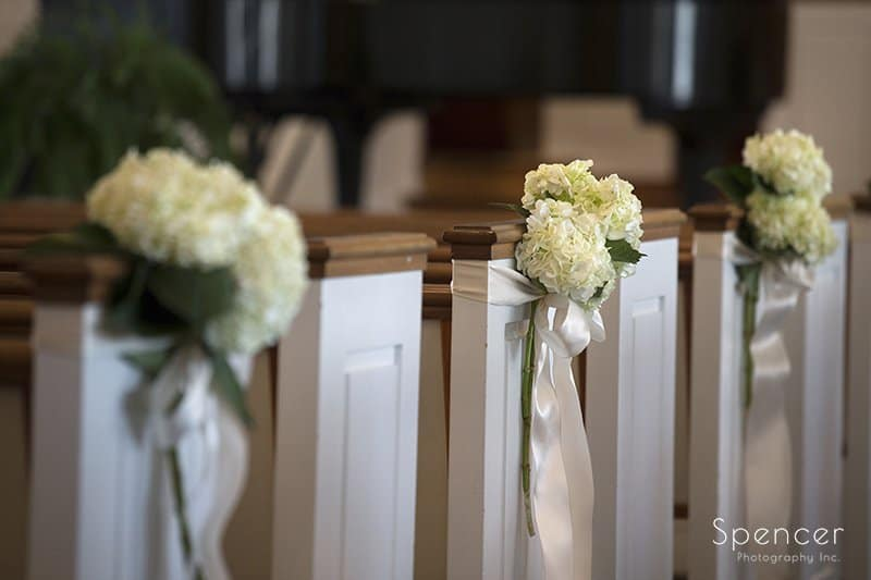 wedding ceremony detail bouquet at Church on the Lakes Cleveland