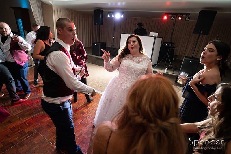 bride singing at her wedding reception at LaMalfa