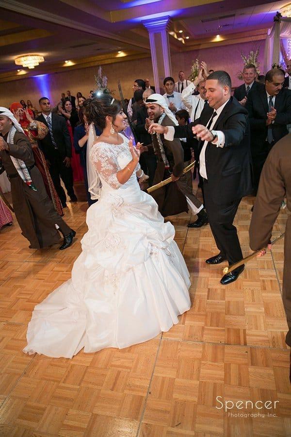 wedding couple dance at their Muslim reception