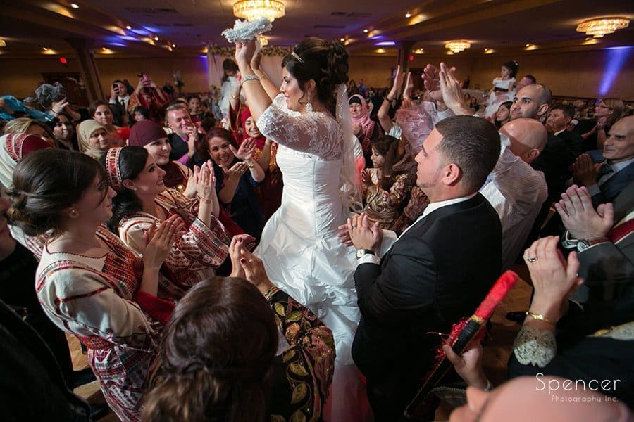 bride dancing with wedding guests at La Villa