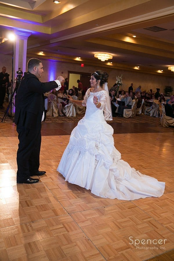bride and groom dancing at wedding reception in Cleveland