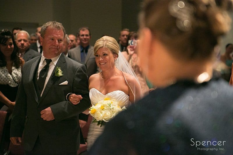 bride looks at mom at her Cuyahoga Valley Church wedding