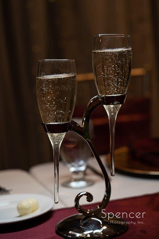 custom wedding champagne glass at wedding reception at Firestone