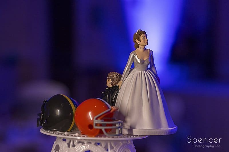 wedding cake topper at reception at Embassy Suites Beachwood