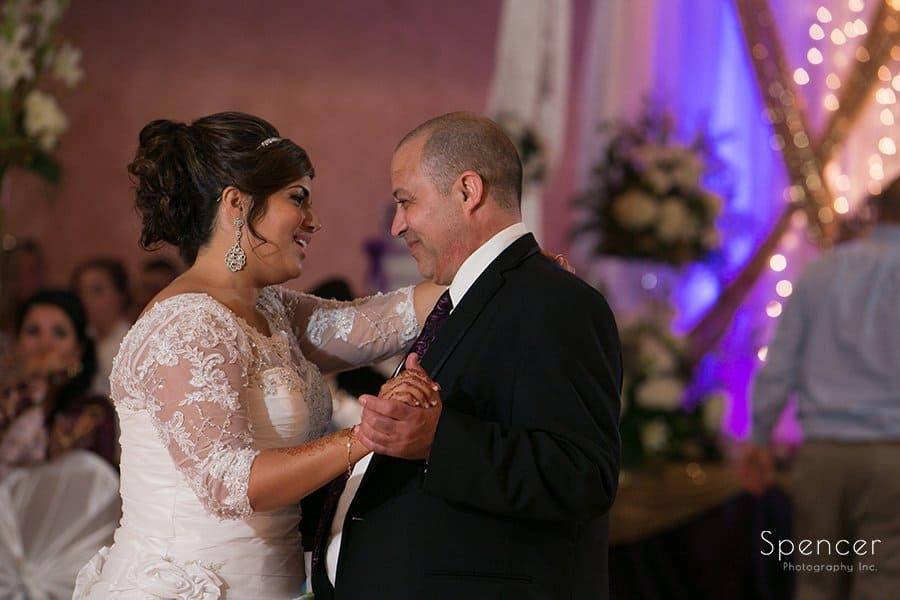 bride dancing with dad at La Villa wedding reception